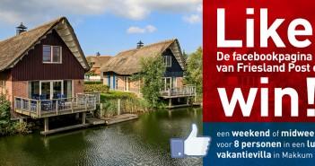 Like de facebookpagina van Friesland Post en maak kans op een weekend of midweek voor 8 personen in een luxe vakantievilla in Makkum.