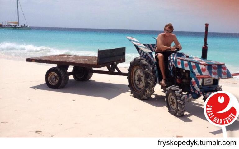 Het is koud in Nederland. De vakantie is voorbij en de meesten zijn weer lekker aan het werk of zitten in de schoolbanken. Dit geldt niet voor iedereen getuige het plaatje hieronder. Maar op Curaçao schijnt de zon en is het heerlijk vertoeven. Ook deze Fries heeft het strand van Curaçao weten te vinden. Ach ja, verschil moet er blijven!